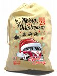 X-Large Cotton Drawcord Koolart Christmas Santa Sack Stocking Gift Bag With Retro Camper Van Image